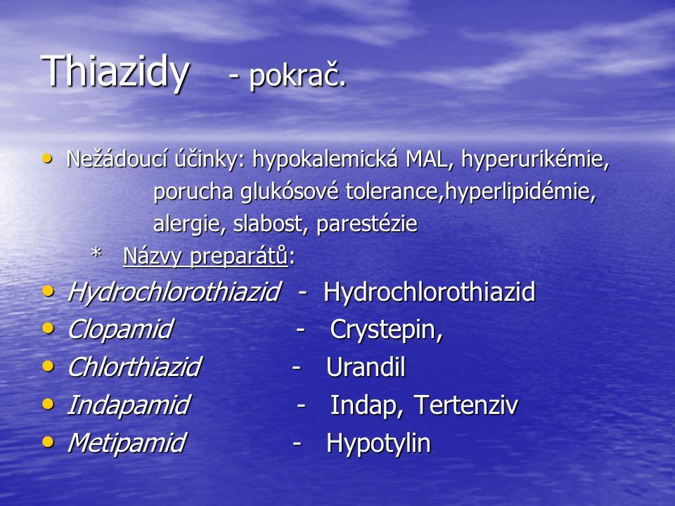 Thiazidy - pokrač.