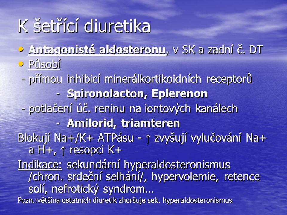 K šetřící diuretika Antagonisté aldosteronu, v SK a zadní č.