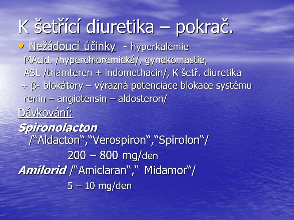 K šetřící diuretika – pokrač.