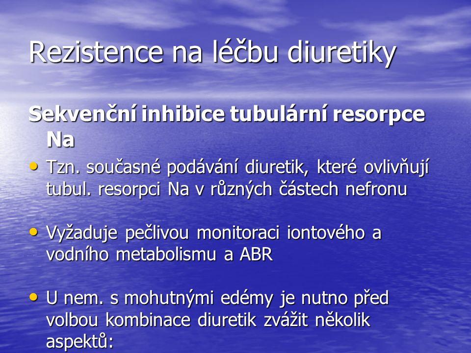 Rezistence na léčbu diuretiky Sekvenční inhibice tubulární resorpce Na Tzn.