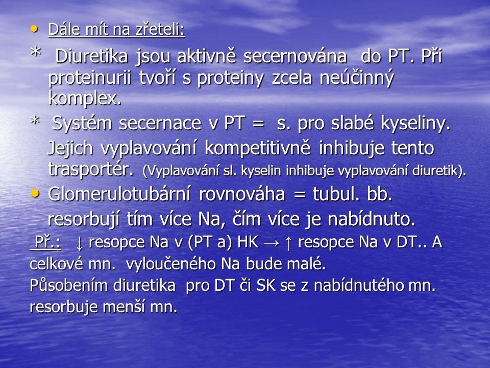 Dále mít na zřeteli: Dále mít na zřeteli: * Diuretika jsou aktivně secernována do PT.