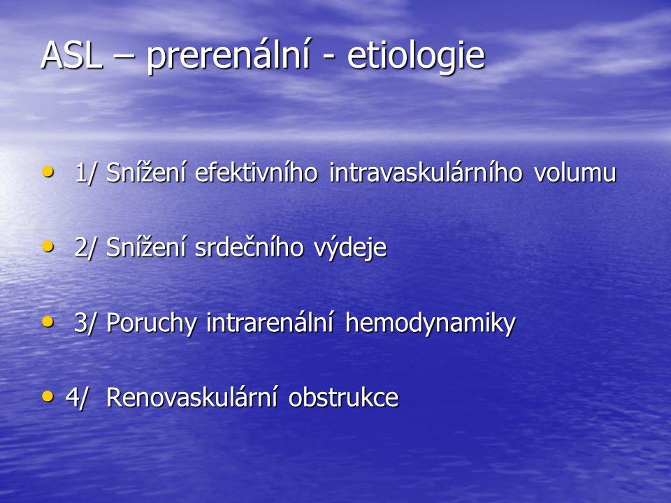ASL – prerenální - etiologie 1/ Snížení efektivního intravaskulárního volumu 1/ Snížení efektivního intravaskulárního volumu 2/ Snížení srdečního výdeje 2/ Snížení srdečního výdeje 3/ Poruchy intrarenální hemodynamiky 3/ Poruchy intrarenální hemodynamiky 4/ Renovaskulární obstrukce 4/ Renovaskulární obstrukce