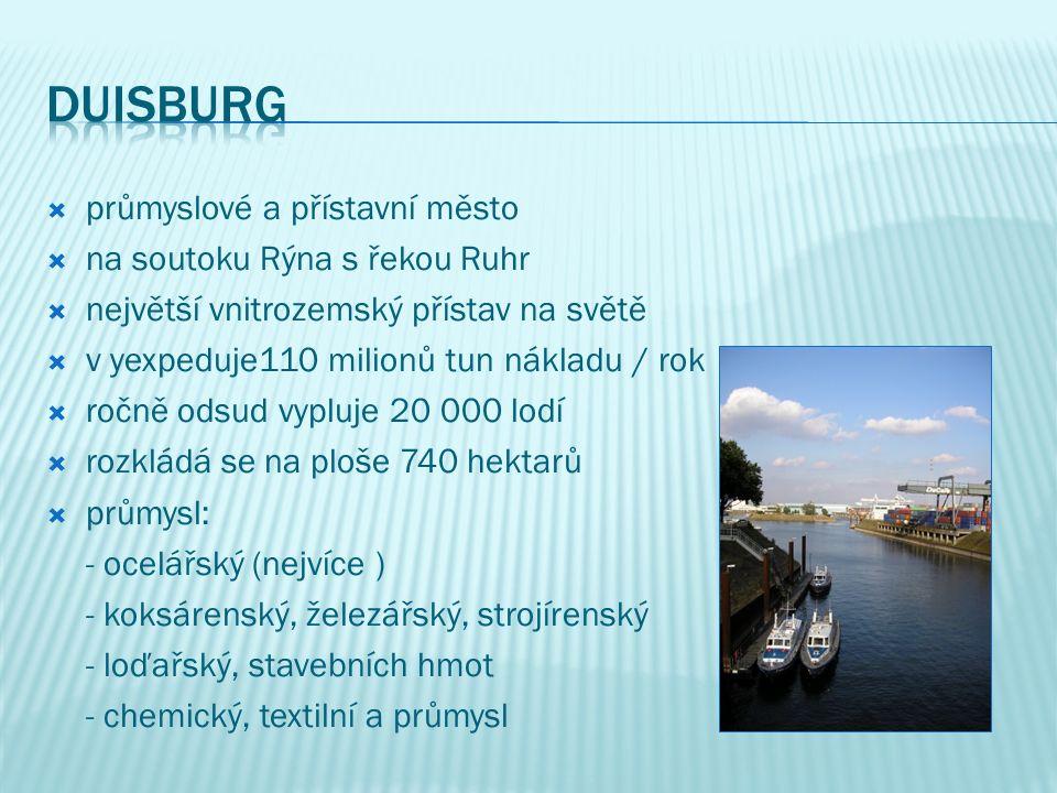  průmyslové a přístavní město  na soutoku Rýna s řekou Ruhr  největší vnitrozemský přístav na světě  v yexpeduje110 milionů tun nákladu / rok  ro