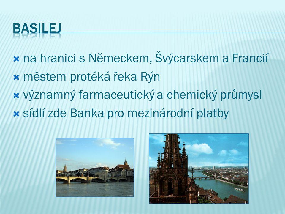  na hranici s Německem, Švýcarskem a Francií  městem protéká řeka Rýn  významný farmaceutický a chemický průmysl  sídlí zde Banka pro mezinárodní platby