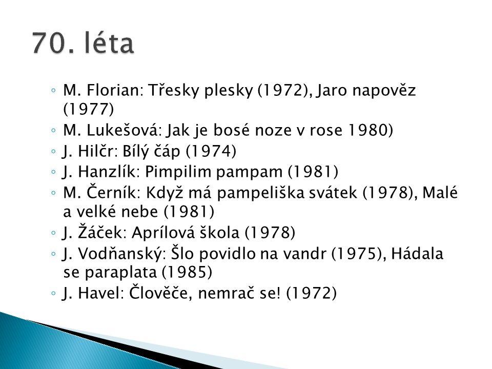 ◦ M. Florian: Třesky plesky (1972), Jaro napověz (1977) ◦ M.
