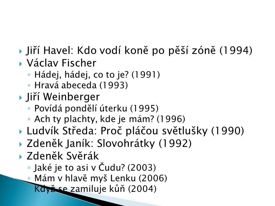  Jiří Havel: Kdo vodí koně po pěší zóně (1994)  Václav Fischer ◦ Hádej, hádej, co to je.