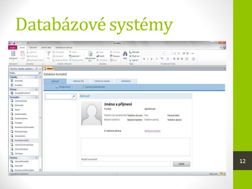 Databázové systémy  jsou programy, které zpracovávají velké soubory dat, tzv. databáze, např. ekonomické agendy, kartotéky zaměstnan- ců, skladová ev
