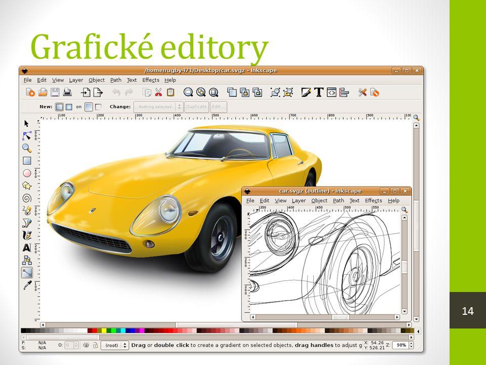 Grafické editory  rastrové editory  můžeme v nich kreslit vlastní kresbu (např. Malování)  zpracovávat a upravovat fotografie, vytvářet koláže (Ado