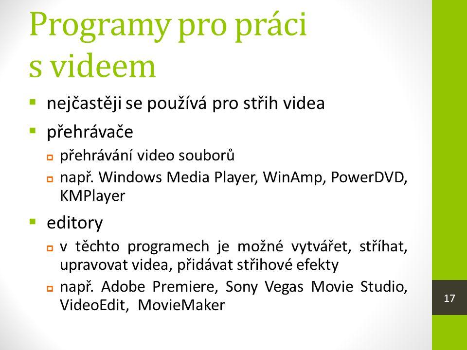 Programy pro práci s videem  nejčastěji se používá pro střih videa  přehrávače  přehrávání video souborů  např. Windows Media Player, WinAmp, Powe