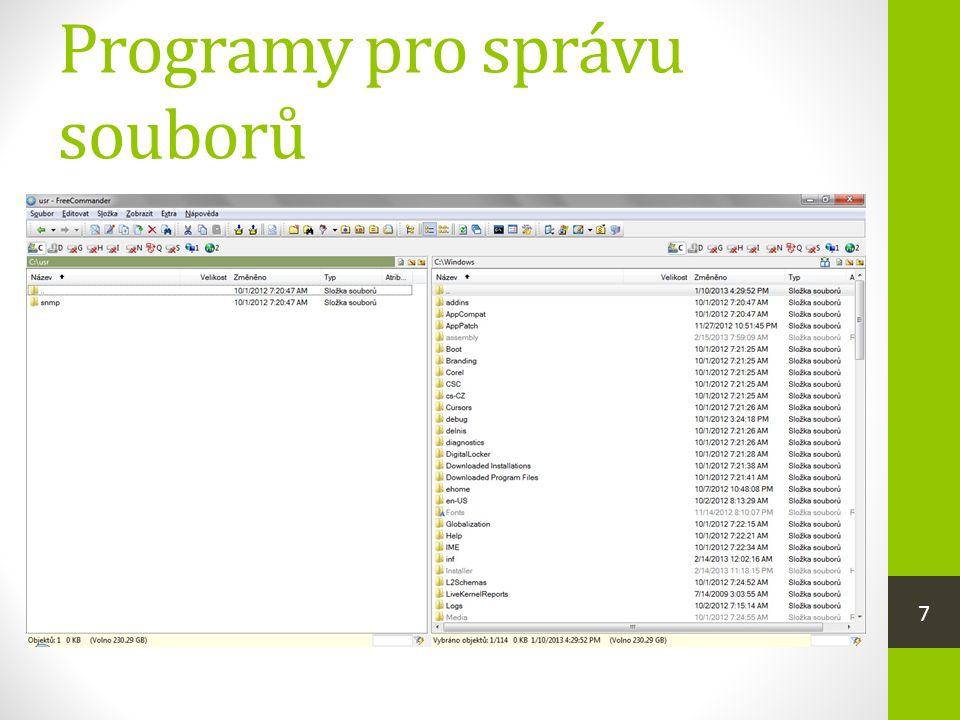 Programy pro správu souborů  také se jim říká souborové manažery  umožňují organizování dat, která jsou uložena na paměťových médiích (např. kopírov