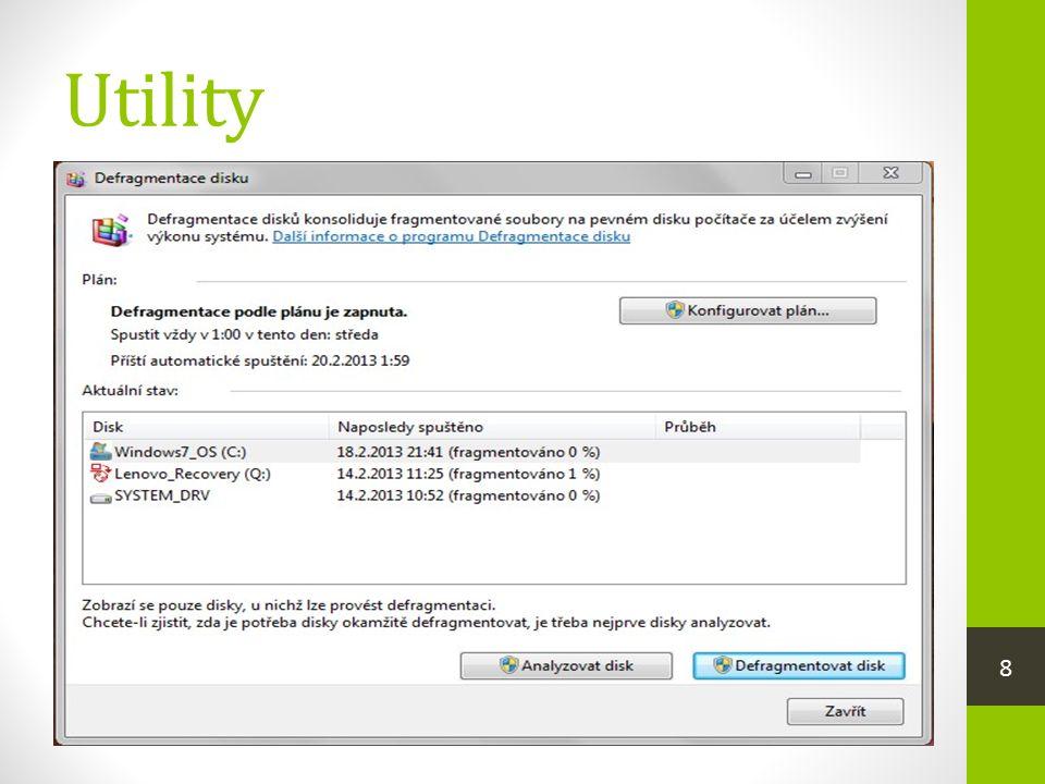 Utility  jsou pomocné programy, které umožňují efektivně vykonávat servisní a pomocné práce tak, aby celý počítač dobře fungoval  do této skupiny se