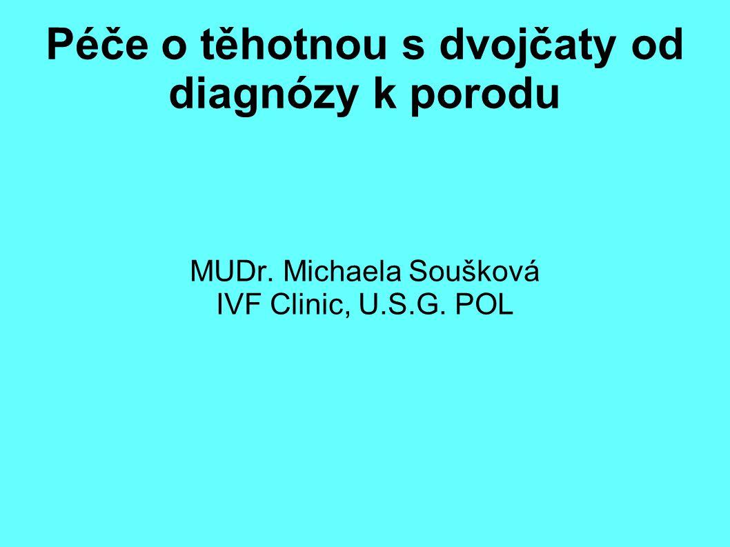 Péče o těhotnou s dvojčaty od diagnózy k porodu MUDr. Michaela Soušková IVF Clinic, U.S.G. POL