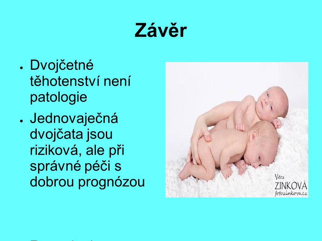 Závěr ● Dvojčetné těhotenství není patologie ● Jednovaječná dvojčata jsou riziková, ale při správné péči s dobrou prognózou ● Respektujte doporučení svého gynekologa, ale nenechte se strašit.