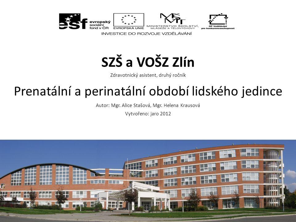SZŠ a VOŠZ Zlín Zdravotnický asistent, druhý ročník Prenatální a perinatální období lidského jedince Autor: Mgr.
