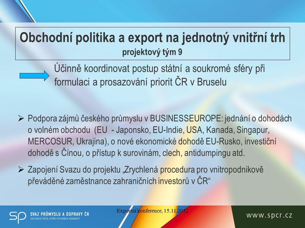 Obchodní politika a export na jednotný vnitřní trh projektový tým 9 Účinně koordinovat postup státní a soukromé sféry při formulaci a prosazování priorit ČR v Bruselu  Podpora zájmů českého průmyslu v BUSINESSEUROPE: jednání o dohodách o volném obchodu (EU - Japonsko, EU-Indie, USA, Kanada, Singapur, MERCOSUR, Ukrajina), o nové ekonomické dohodě EU-Rusko, investiční dohodě s Čínou, o přístup k surovinám, clech, antidumpingu atd.