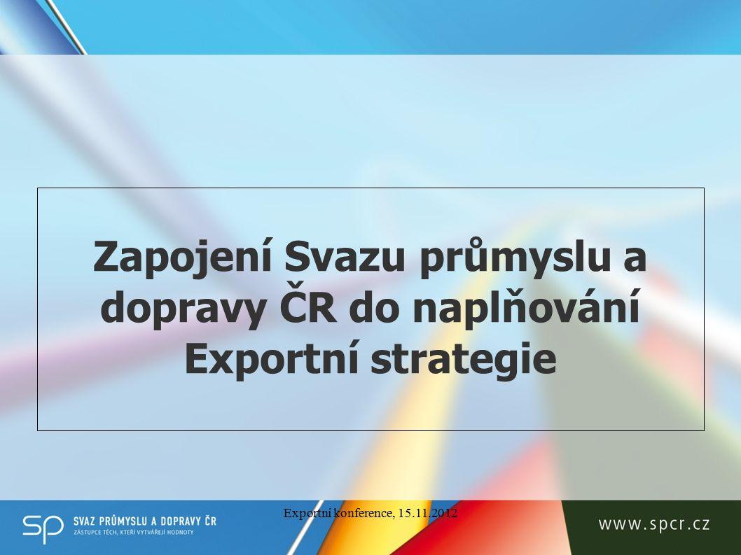 Zapojení Svazu průmyslu a dopravy ČR do naplňování Exportní strategie Exportní konference, 15.11.2012