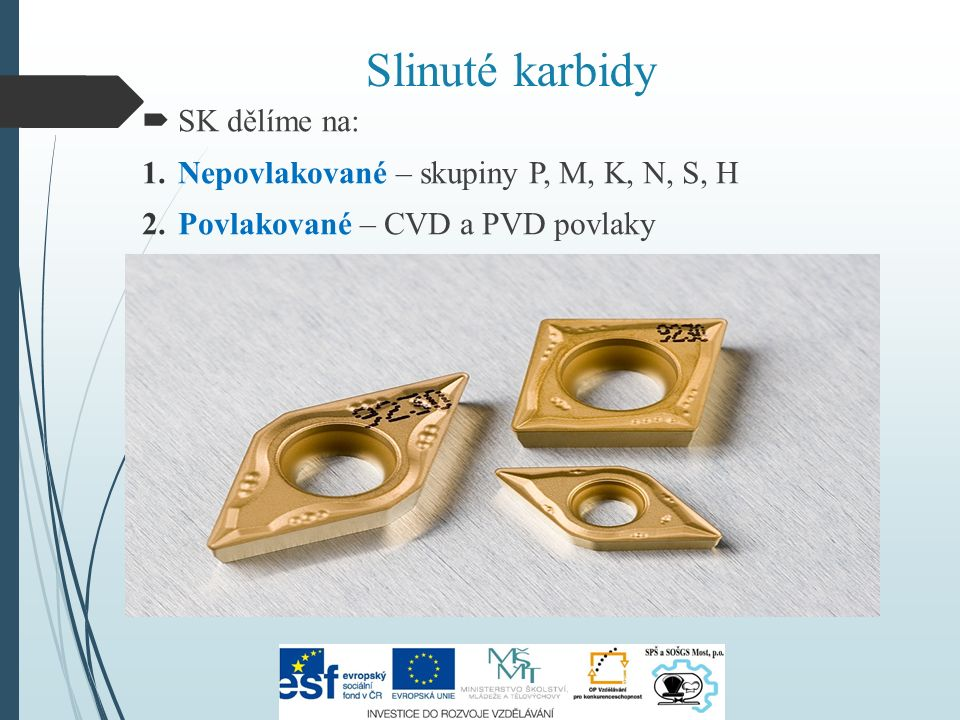 Slinuté karbidy  SK dělíme na: 1.Nepovlakované – skupiny P, M, K, N, S, H 2.Povlakované – CVD a PVD povlaky