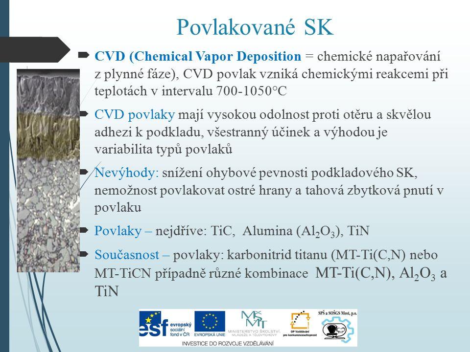 Povlakované SK   CVD (Chemical Vapor Deposition = chemické napařování z plynné fáze), CVD povlak vzniká chemickými reakcemi při teplotách v interval