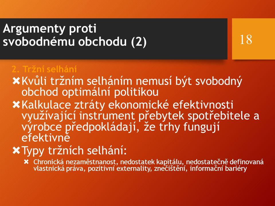 Argumenty proti svobodnému obchodu (2) 2.