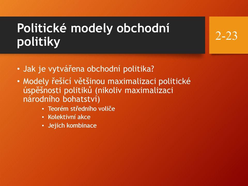 Politické modely obchodní politiky Jak je vytvářena obchodní politika? Modely řešící většinou maximalizaci politické úspěšnosti politiků (nikoliv maxi