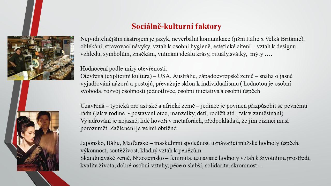 Sociálně-kulturní faktory Nejviditelnějším nástrojem je jazyk, neverbální komunikace (jižní Itálie x Velká Británie), oblékání, stravovací návyky, vztah k osobní hygieně, estetické cítění – vztah k designu, vzhledu, symbolům, značkám, vnímání ideálu krásy, rituály,svátky, mýty ….
