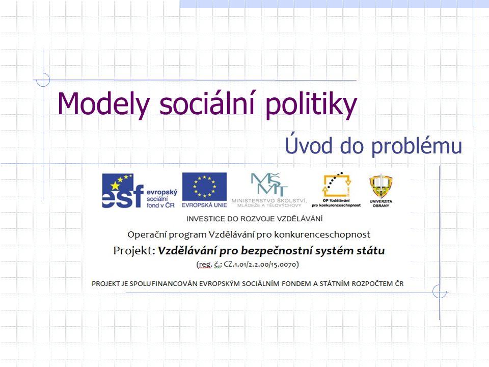 Modely sociální politiky Úvod do problému