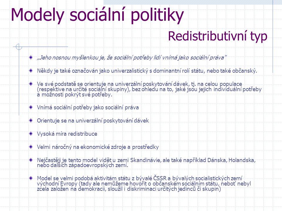 """""""Jeho nosnou myšlenkou je, že sociální potřeby lidí vnímá jako sociální práva Někdy je také označován jako univerzalistický s dominantní rolí státu, nebo také občanský."""