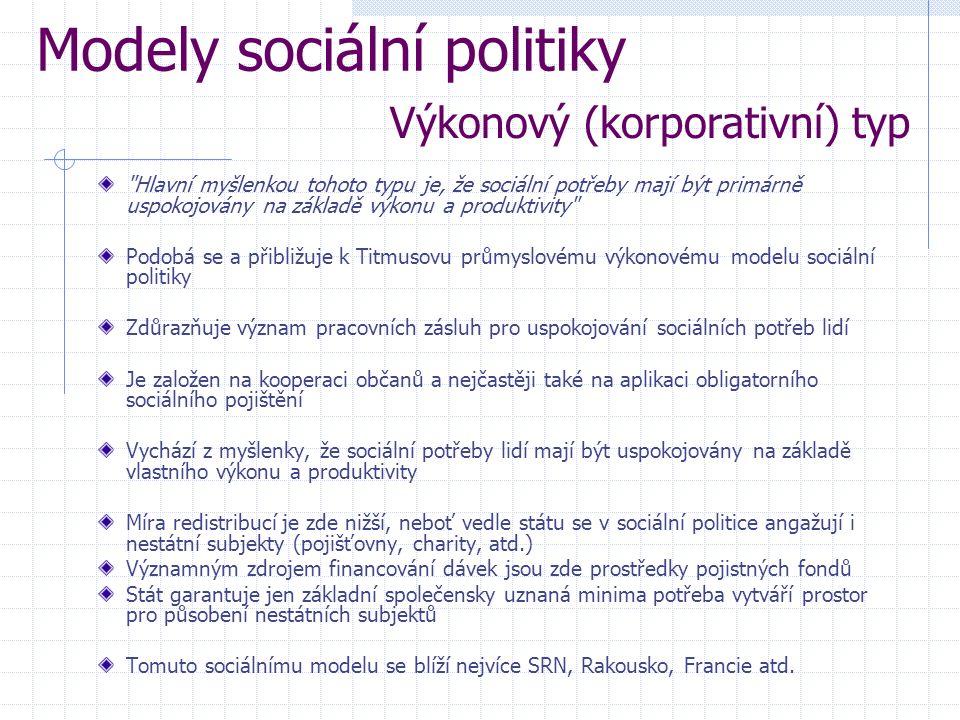 Hlavní myšlenkou tohoto typu je, že sociální potřeby mají být primárně uspokojovány na základě výkonu a produktivity Podobá se a přibližuje k Titmusovu průmyslovému výkonovému modelu sociální politiky Zdůrazňuje význam pracovních zásluh pro uspokojování sociálních potřeb lidí Je založen na kooperaci občanů a nejčastěji také na aplikaci obligatorního sociálního pojištění Vychází z myšlenky, že sociální potřeby lidí mají být uspokojovány na základě vlastního výkonu a produktivity Míra redistribucí je zde nižší, neboť vedle státu se v sociální politice angažují i nestátní subjekty (pojišťovny, charity, atd.) Významným zdrojem financování dávek jsou zde prostředky pojistných fondů Stát garantuje jen základní společensky uznaná minima potřeba vytváří prostor pro působení nestátních subjektů Tomuto sociálnímu modelu se blíží nejvíce SRN, Rakousko, Francie atd.