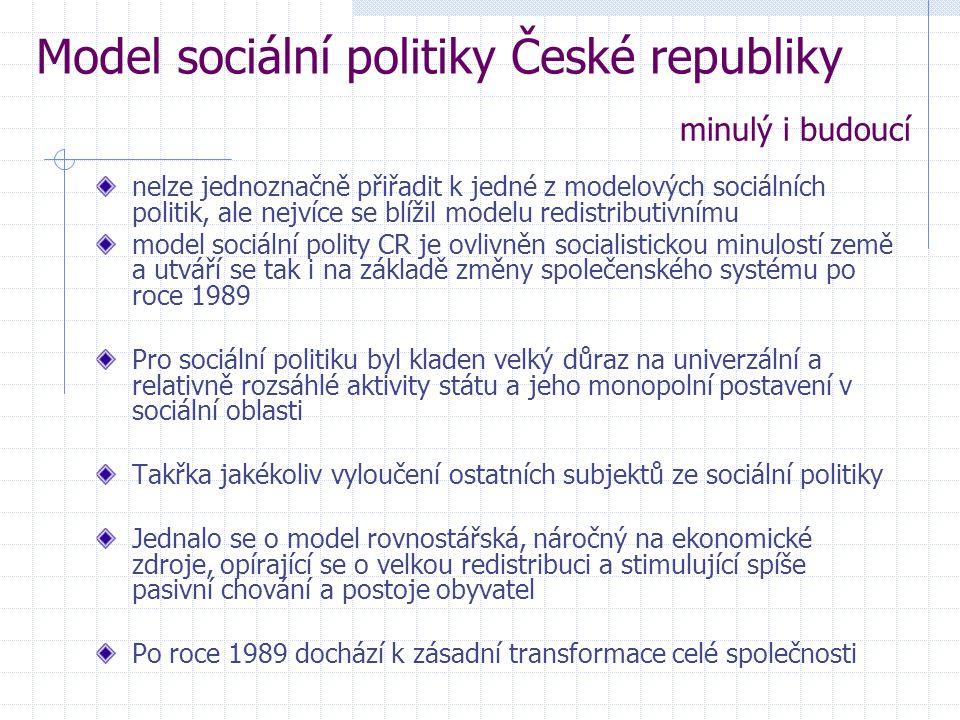 nelze jednoznačně přiřadit k jedné z modelových sociálních politik, ale nejvíce se blížil modelu redistributivnímu model sociální polity CR je ovlivněn socialistickou minulostí země a utváří se tak i na základě změny společenského systému po roce 1989 Pro sociální politiku byl kladen velký důraz na univerzální a relativně rozsáhlé aktivity státu a jeho monopolní postavení v sociální oblasti Takřka jakékoliv vyloučení ostatních subjektů ze sociální politiky Jednalo se o model rovnostářská, náročný na ekonomické zdroje, opírající se o velkou redistribuci a stimulující spíše pasivní chování a postoje obyvatel Po roce 1989 dochází k zásadní transformace celé společnosti Model sociální politiky České republiky minulý i budoucí
