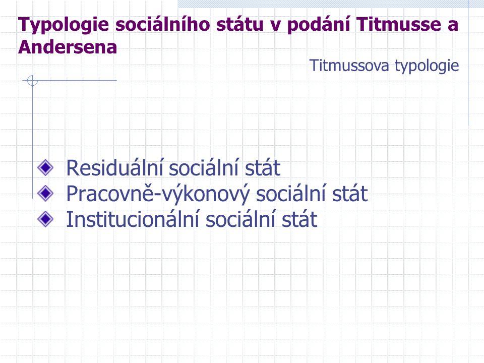 Residuální sociální stát Pracovně-výkonový sociální stát Institucionální sociální stát Typologie sociálního státu v podání Titmusse a Andersena Titmussova typologie