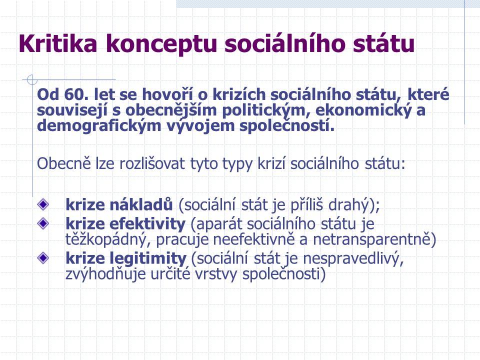 krize nákladů (sociální stát je příliš drahý); krize efektivity (aparát sociálního státu je těžkopádný, pracuje neefektivně a netransparentně) krize legitimity (sociální stát je nespravedlivý, zvýhodňuje určité vrstvy společnosti) Kritika konceptu sociálního státu Od 60.