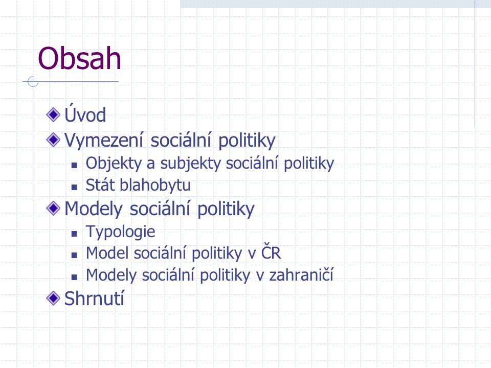 Obsah Úvod Vymezení sociální politiky Objekty a subjekty sociální politiky Stát blahobytu Modely sociální politiky Typologie Model sociální politiky v