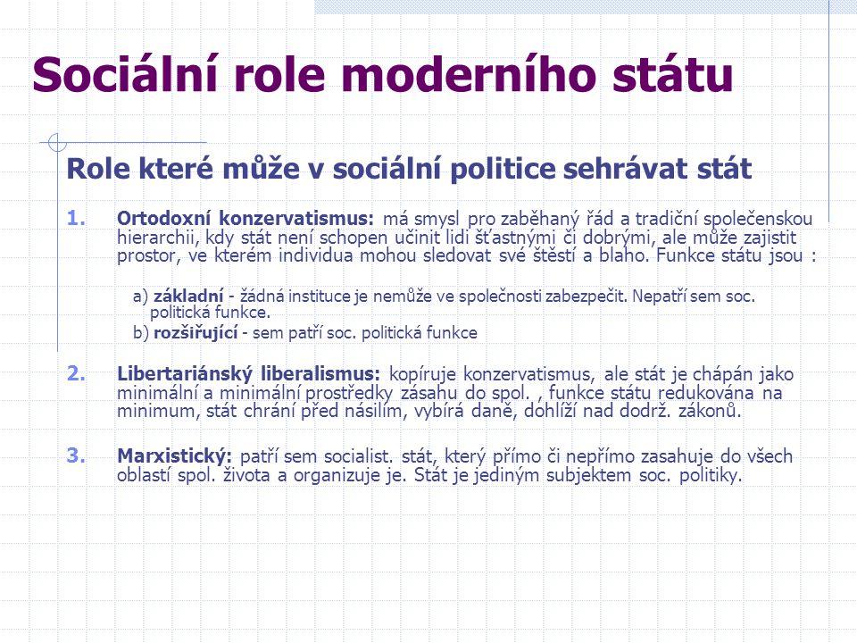 1. Ortodoxní konzervatismus: má smysl pro zaběhaný řád a tradiční společenskou hierarchii, kdy stát není schopen učinit lidi šťastnými či dobrými, ale