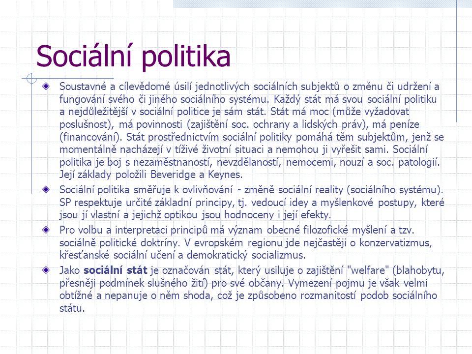 Sociální politika Soustavné a cílevědomé úsilí jednotlivých sociálních subjektů o změnu či udržení a fungování svého či jiného sociálního systému. Kaž