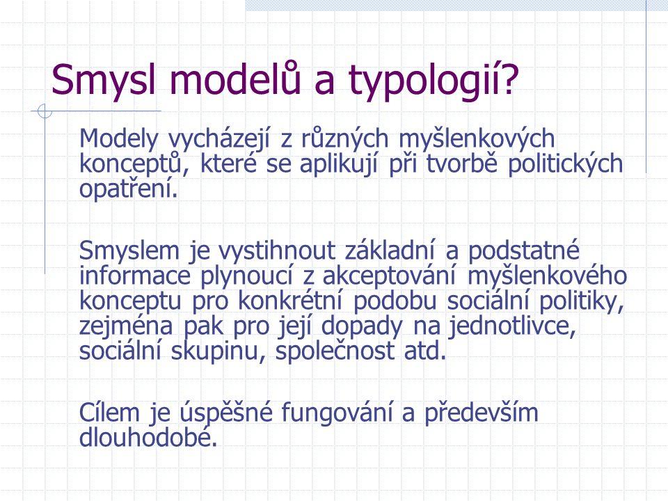 Smysl modelů a typologií? Modely vycházejí z různých myšlenkových konceptů, které se aplikují při tvorbě politických opatření. Smyslem je vystihnout z