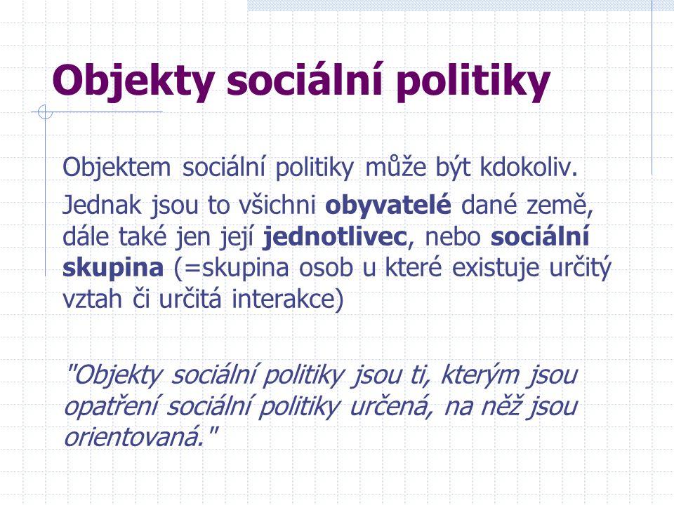 Objekty sociální politiky Objektem sociální politiky může být kdokoliv. Jednak jsou to všichni obyvatelé dané země, dále také jen její jednotlivec, ne