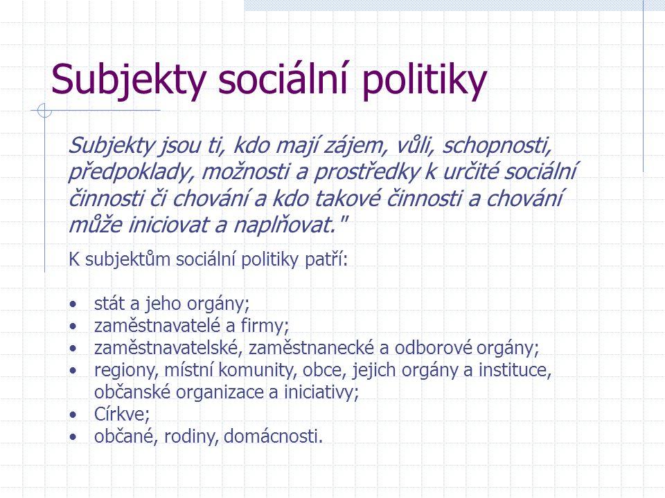 Subjekty sociální politiky Subjekty jsou ti, kdo mají zájem, vůli, schopnosti, předpoklady, možnosti a prostředky k určité sociální činnosti či chování a kdo takové činnosti a chování může iniciovat a naplňovat. K subjektům sociální politiky patří: stát a jeho orgány; zaměstnavatelé a firmy; zaměstnavatelské, zaměstnanecké a odborové orgány; regiony, místní komunity, obce, jejich orgány a instituce, občanské organizace a iniciativy; Církve; občané, rodiny, domácnosti.