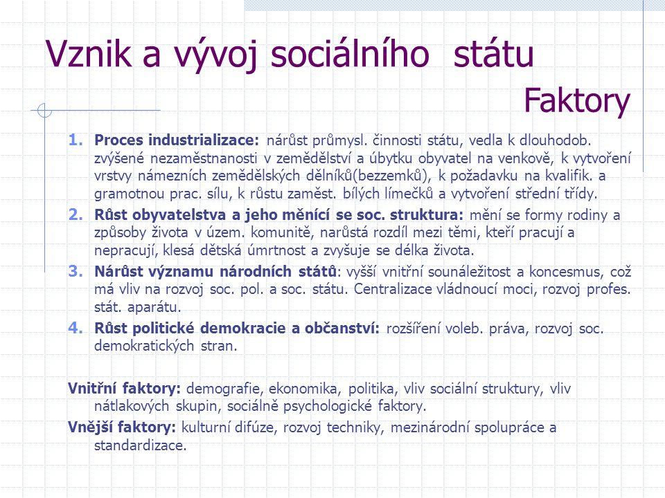 Vznik a vývoj sociálního státu Faktory 1. Proces industrializace: nárůst průmysl.