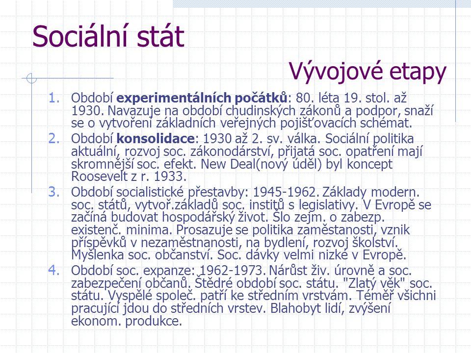 Sociální stát Vývojové etapy 1. Období experimentálních počátků: 80. léta 19. stol. až 1930. Navazuje na období chudinských zákonů a podpor, snaží se