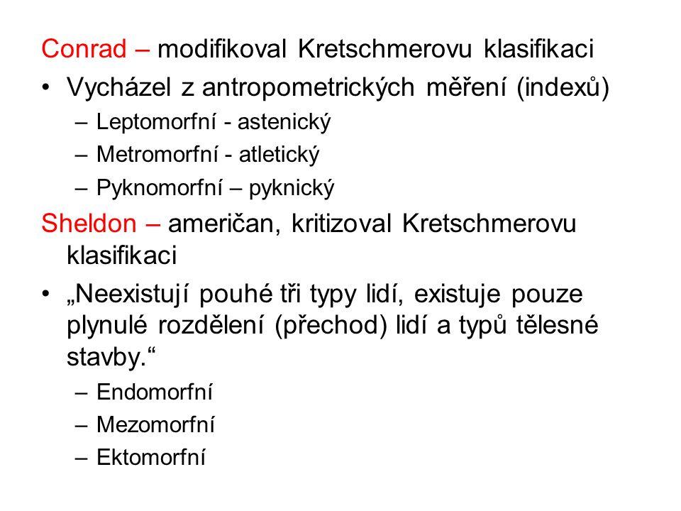 """Conrad – modifikoval Kretschmerovu klasifikaci Vycházel z antropometrických měření (indexů) –Leptomorfní - astenický –Metromorfní - atletický –Pyknomorfní – pyknický Sheldon – američan, kritizoval Kretschmerovu klasifikaci """"Neexistují pouhé tři typy lidí, existuje pouze plynulé rozdělení (přechod) lidí a typů tělesné stavby. –Endomorfní –Mezomorfní –Ektomorfní"""