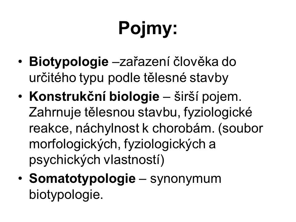 Pojmy: Biotypologie –zařazení člověka do určitého typu podle tělesné stavby Konstrukční biologie – širší pojem.