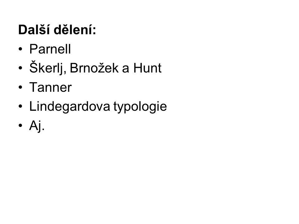 Další dělení: Parnell Škerlj, Brnožek a Hunt Tanner Lindegardova typologie Aj.
