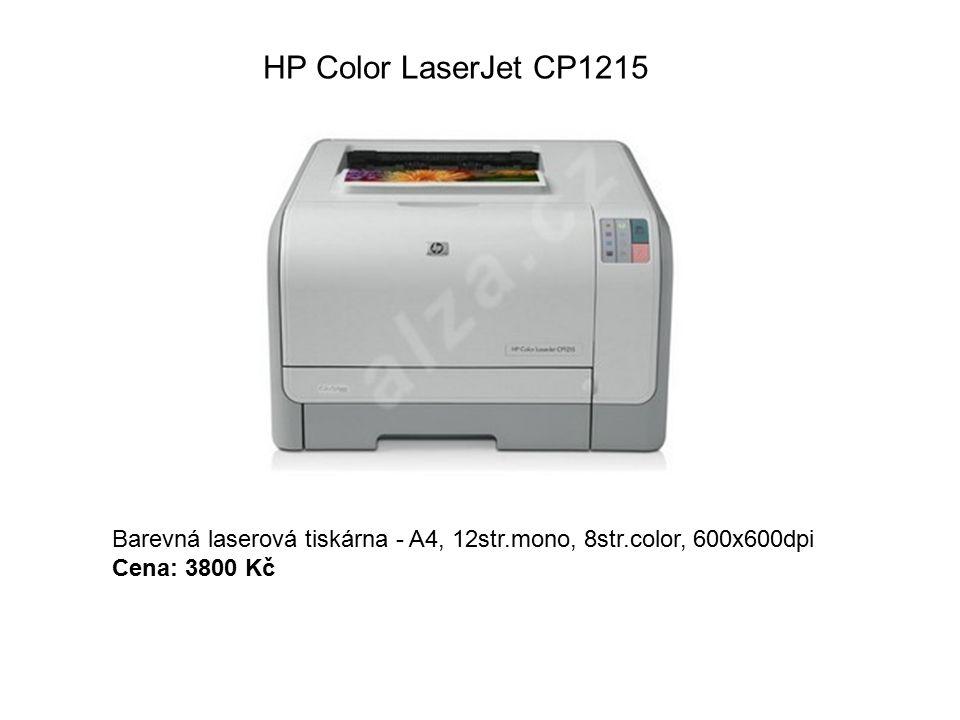 HP Color LaserJet CP1215 Barevná laserová tiskárna - A4, 12str.mono, 8str.color, 600x600dpi Cena: 3800 Kč