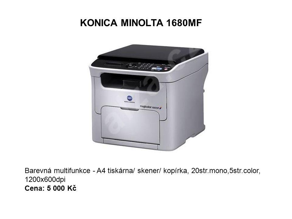 KONICA MINOLTA 1680MF Barevná multifunkce - A4 tiskárna/ skener/ kopírka, 20str.mono,5str.color, 1200x600dpi Cena: 5 000 Kč