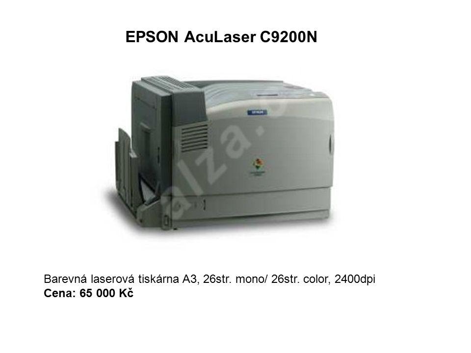 EPSON AcuLaser C9200N Barevná laserová tiskárna A3, 26str. mono/ 26str. color, 2400dpi Cena: 65 000 Kč