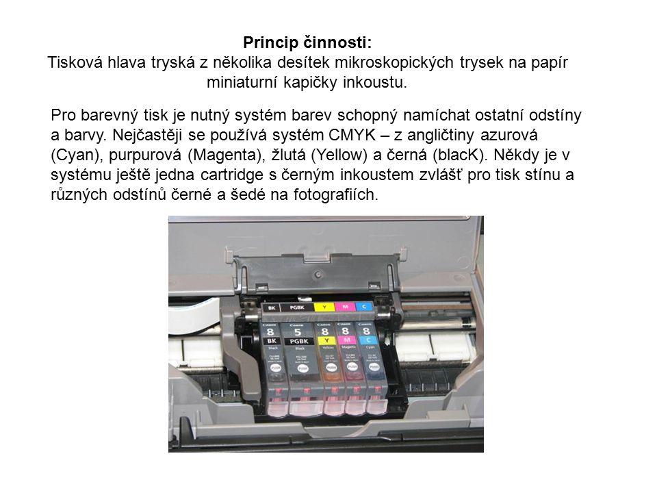 Princip činnosti: Tisková hlava tryská z několika desítek mikroskopických trysek na papír miniaturní kapičky inkoustu.