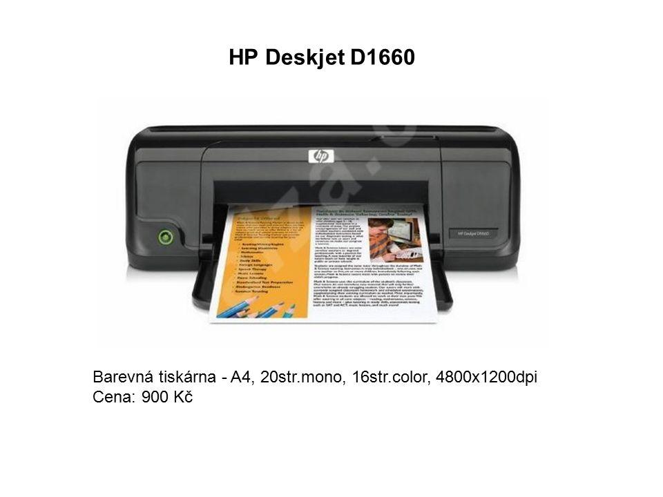 HP Deskjet D1660 Barevná tiskárna - A4, 20str.mono, 16str.color, 4800x1200dpi Cena: 900 Kč