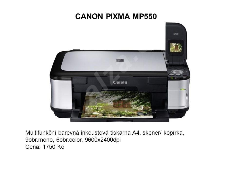 CANON PIXMA MP550 Multifunkční barevná inkoustová tiskárna A4, skener/ kopírka, 9obr.mono, 6obr.color, 9600x2400dpi Cena: 1750 Kč