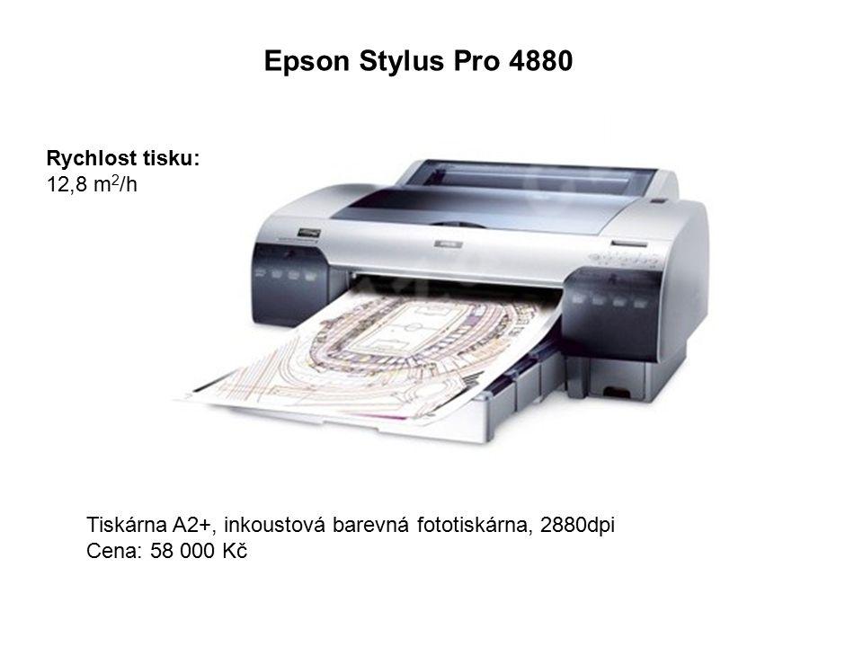 Epson Stylus Pro 4880 Tiskárna A2+, inkoustová barevná fototiskárna, 2880dpi Cena: 58 000 Kč Rychlost tisku: 12,8 m 2 /h