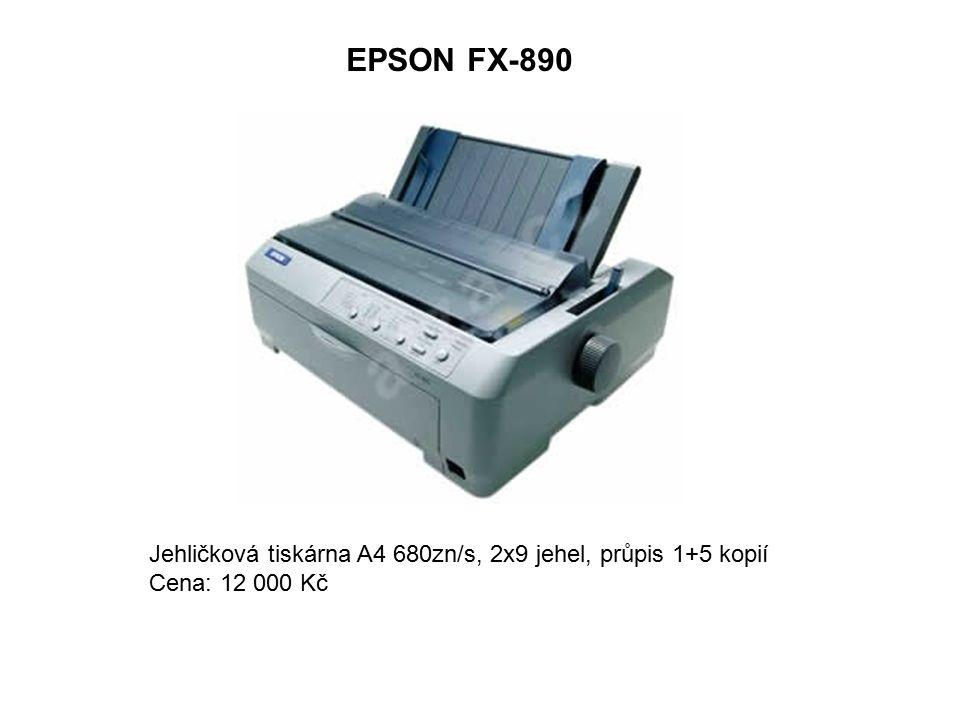 EPSON FX-890 Jehličková tiskárna A4 680zn/s, 2x9 jehel, průpis 1+5 kopií Cena: 12 000 Kč